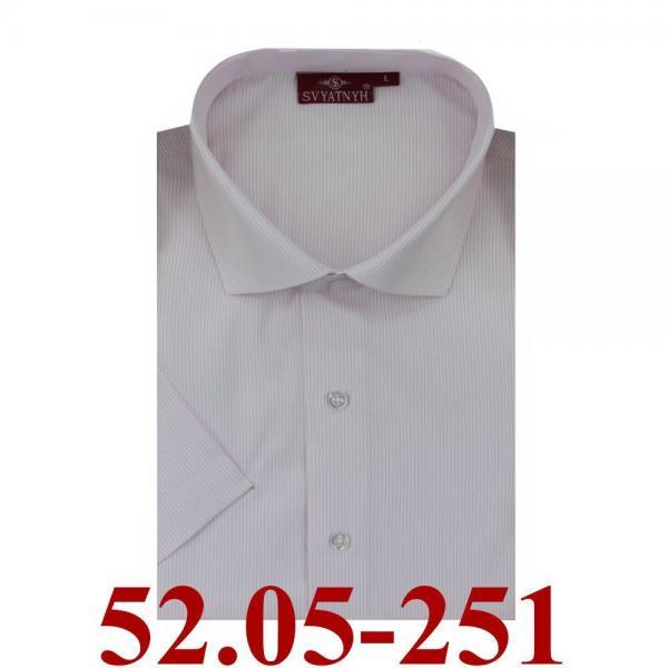 52.05-251 сорочка притал св.розовая микрополос корот
