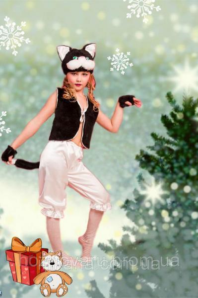 Детский карнавальный костюм Кот Кошка Котенок черно белый