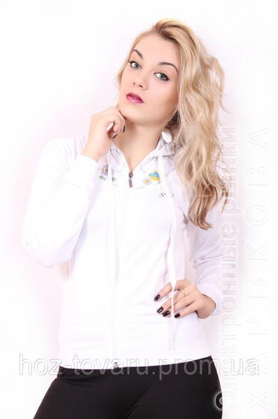 fd83d05eec50 Спортивная женская кофта мастерка №86 Белый - Спортивные кофты, толстовки,  куртки женские на рынке Барабашова