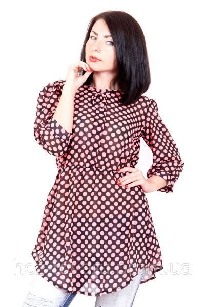Платье-туника 359 горох (4 цвета) шифоновое платье, платье в горошек, туника шифоновая, дропшиппинг по украине