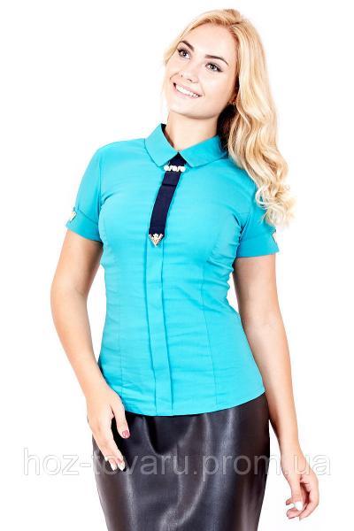 Рубашка Галстук 033 (4 цвета), блуза с галстуком, блузка для офиса, для школы, дропшиппинг