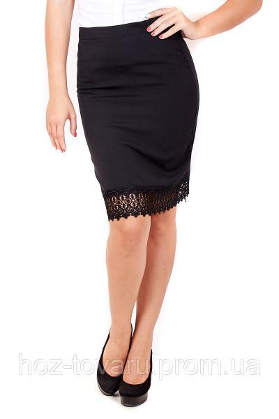 Юбка прямая с кружевом, юбка прямая, юбка до колена, черная юбка, для офиса, для школы, дропшиппинг украина