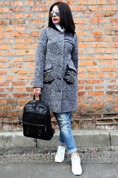 Женское демисезонное пальто Нашивка кожа меланж (2цвета), женское пальто демисезонное,  дропшиппинг