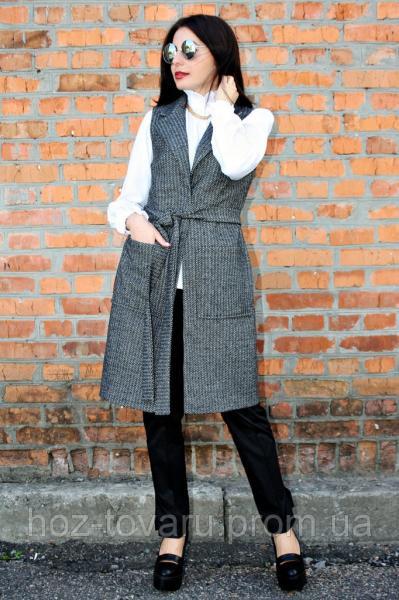 Жилет женский Ясмина елочка (2 цвет), женский жилет-пальто, жилетка драповая, жилет полушерстяной, дропшиппинг