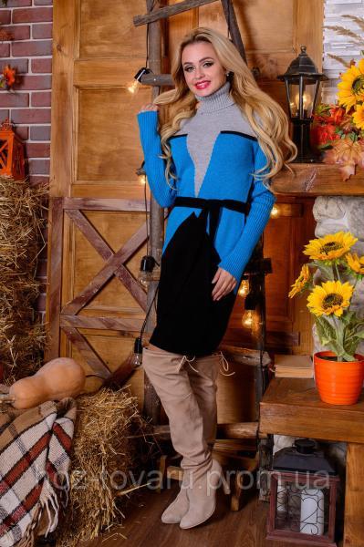 Платье вязаное Корсет (5 цветов), вязанное платье, теплое платье с маками, дропшиппинг украина