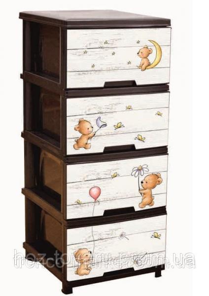 """Комод на 4 ящика с декором """"Медведи"""" коричневый Алеана"""