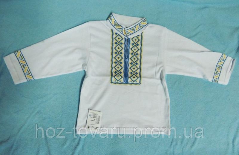 Вышиванка белая с голубой вышивкой (рукав длинный)