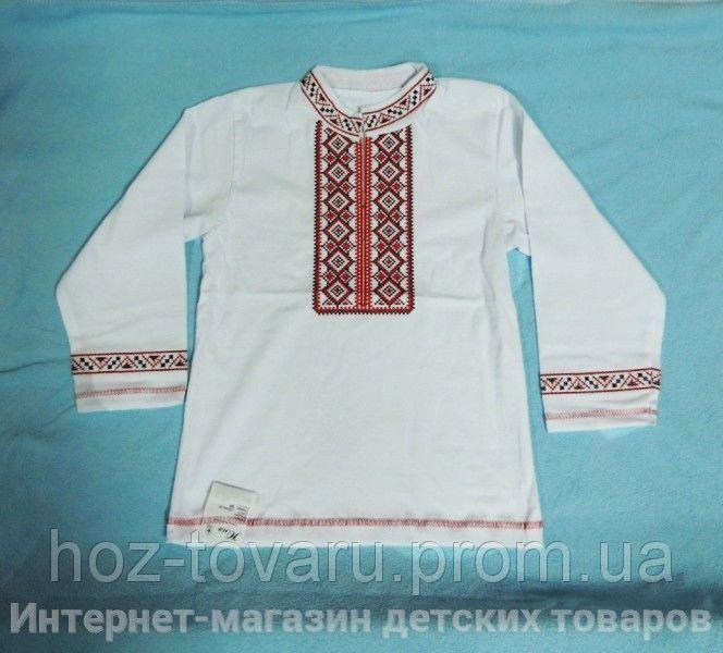 Вышиванка белая с красной вышивкой (рукав длинный)