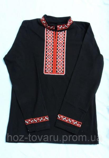 Вышиванка черная с красной вышивкой (рукав длинный)
