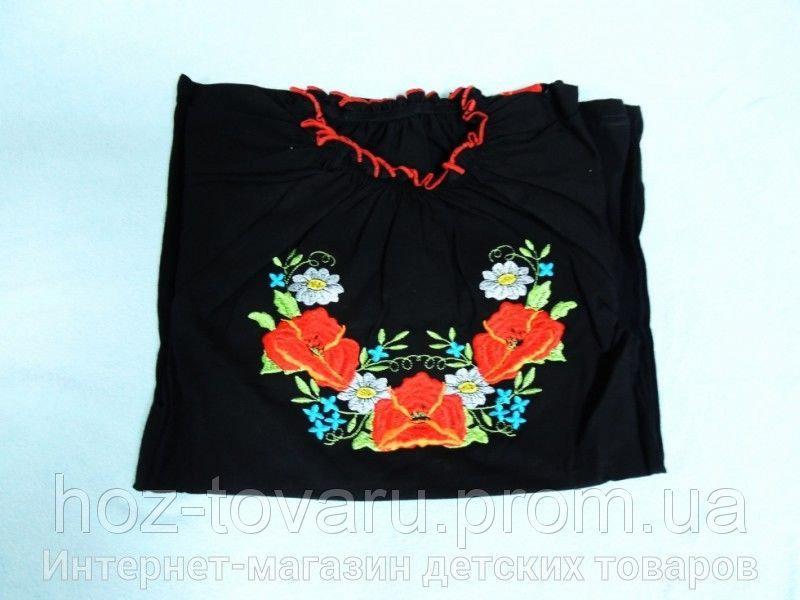 Вышиванка черная (рукав короткий)