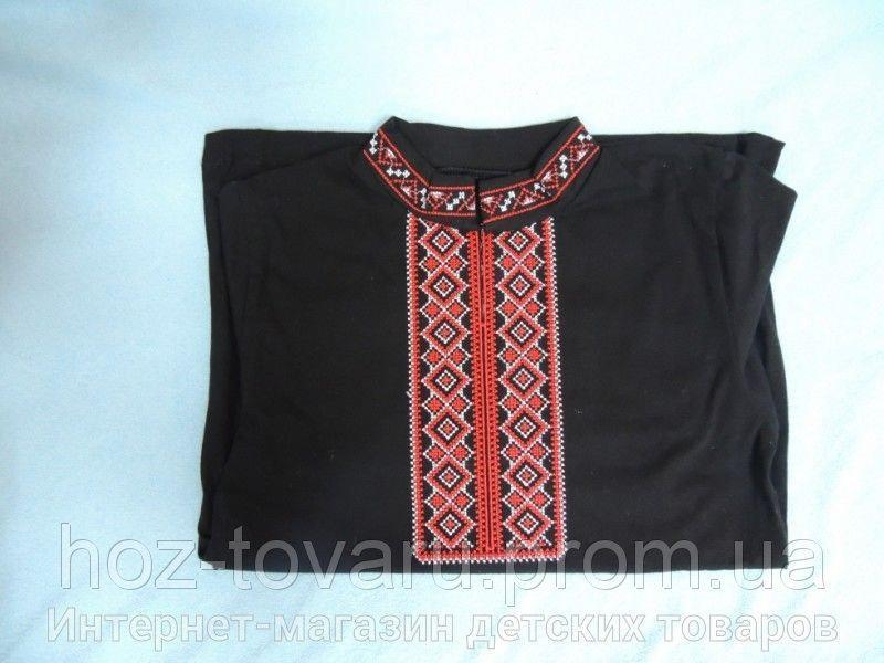 Вышиванка черная с красной вышивкой (рукав короткий)
