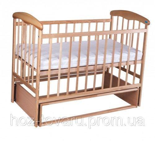 Детская кроватка Наталка без ящика светлая с маятником