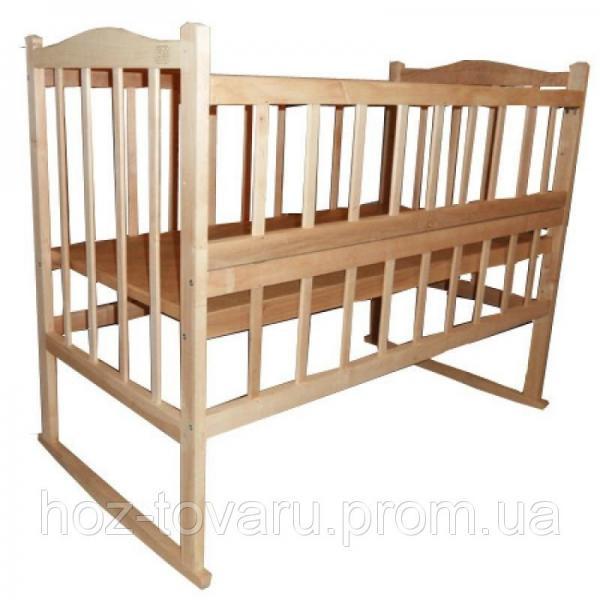 Детская кроватка КФ-3 из натурального дерева без лака (качалка+колёсики) с откидной боковинкой