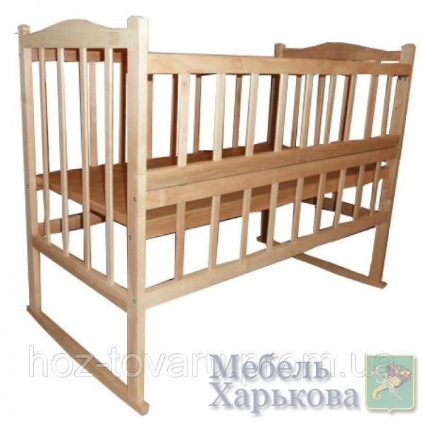 Детская кроватка КФ-3 из натурального дерева без лака (качалка+колёсики) с откидной боковинкой - Кроватки для новорожденных, колыбели в Харькове