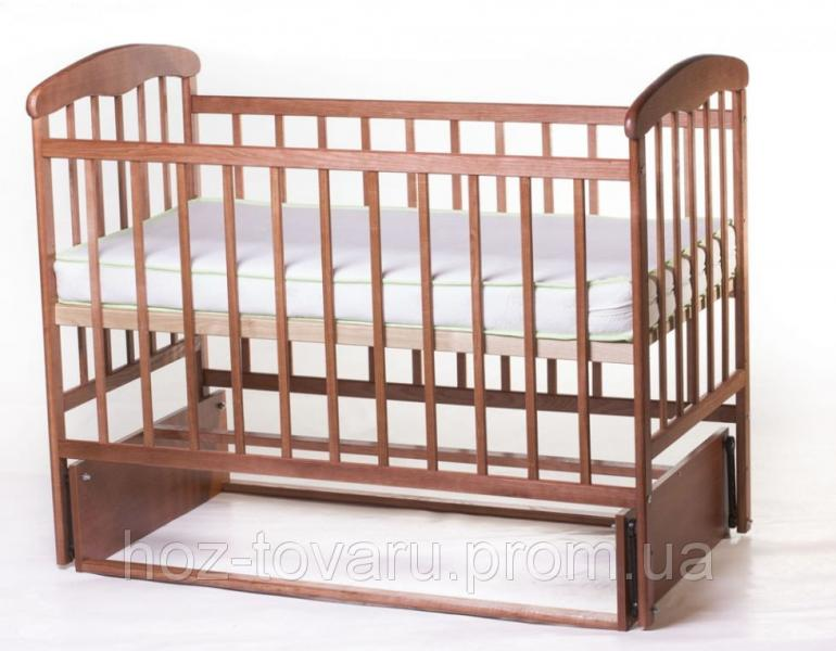 Детская кроватка Наталка без ящика темная с маятником