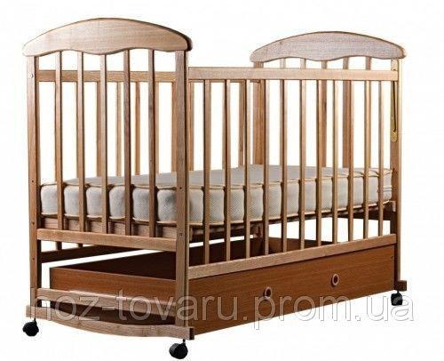 Детская кроватка Наталка с ящиком светлая