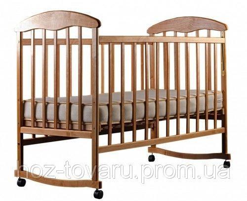 Детская кроватка Наталка светлая качалка с колёсиками