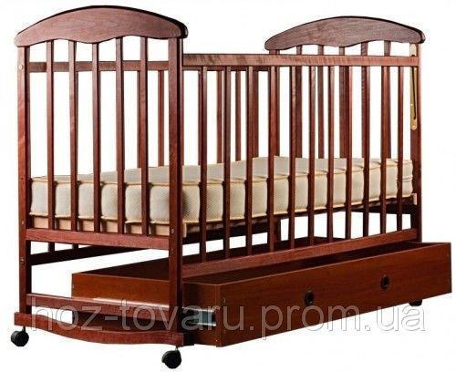 Детская кроватка Наталка с ящиком тёмная