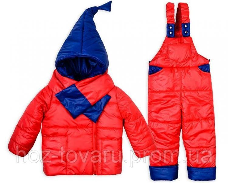 Детский зимний комбинезон Гномик+ шарфик красный 1-2,2-3,3-4 года