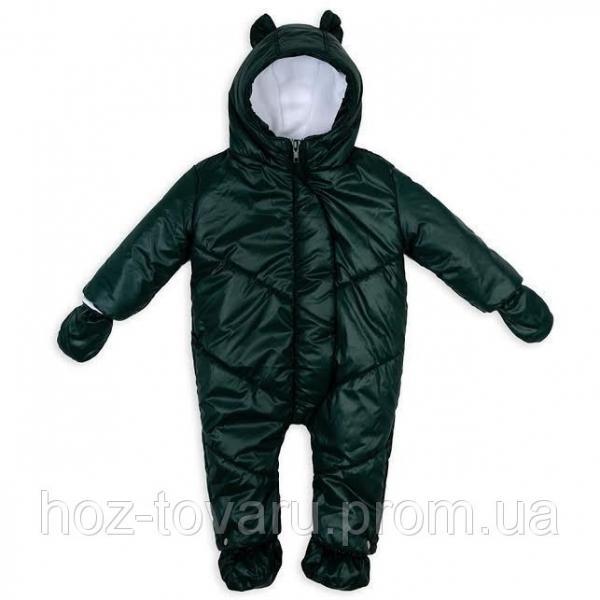 Детский зимний комбинезон Пупсик темно-зеленый 0-9 месяцев