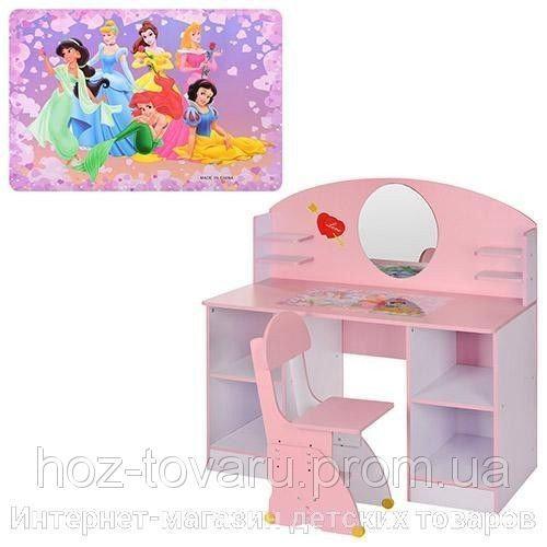Детский макияжный столик трюмо Принцессы 999 с зеркалом