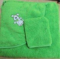 Детское полотенце с уголком махровое с варежкой (толстое)