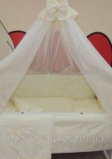 Детское постельное белье в кроватку бежевое Жаккард Bonna 9 в 1