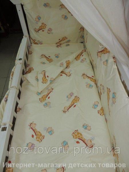 Детское постельное белье в кроватку бежевое Жирафик Gold 9 в 1