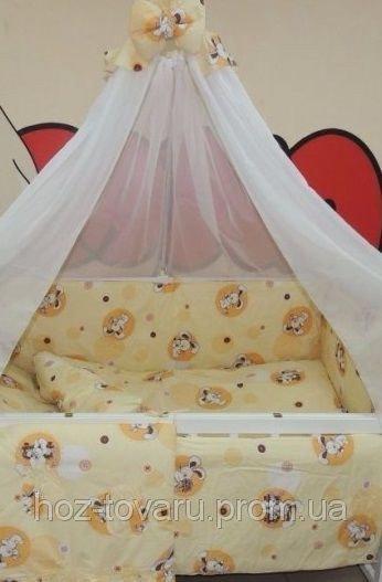 Детское постельное белье в кроватку бежевое Зайчик пуговица Bonna 9 в 1