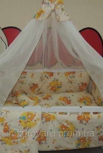 Детское постельное белье в кроватку бежевое Мишка пчелка на луне Bonna 9 в 1
