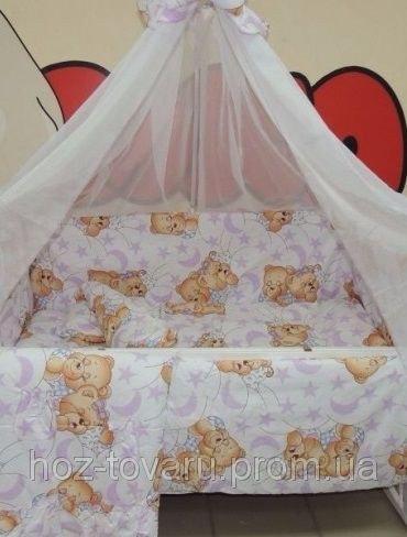 Детское постельное белье в кроватку бело-фиолетовое Мишки спят Bonna 9 в 1