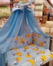 Детское постельное белье в кроватку голубое Мишки горох Gold 9 в 1