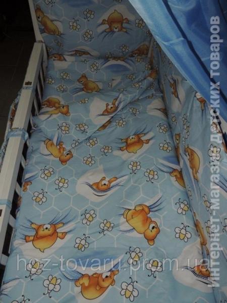 Детское постельное белье в кроватку голубое Мишки соты Gold 9 в 1