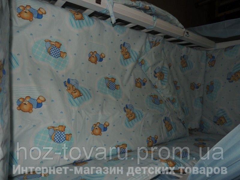 Детское постельное белье в кроватку голубое Мишки клетка Gold 9 в 1