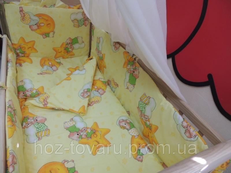 Детское постельное белье в кроватку желтое Мишки горох Gold 9 в 1
