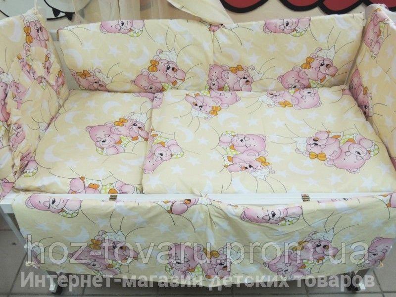 Детское постельное белье в кроватку желтое Мишки спят Bonna 9 в 1