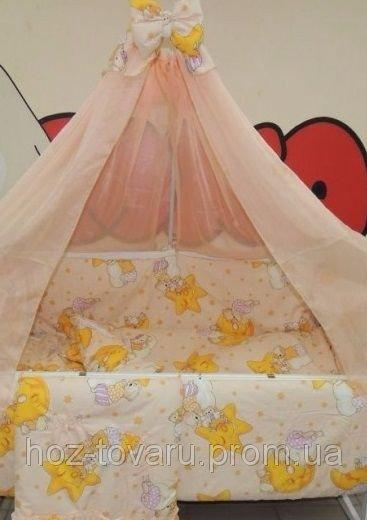 Детское постельное белье в кроватку персиковое Мишки горох Bonna 9 в 1