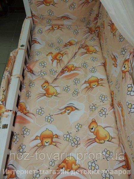 Детское постельное белье в кроватку персиковое Мишки соты Gold 9 в 1
