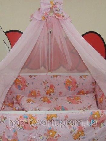 Детское постельное белье в кроватку розовое Мишка пчелка на луне Bonna 9 в 1