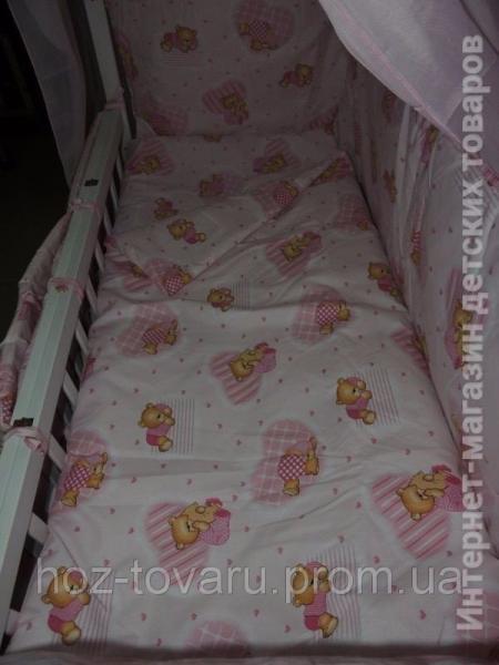 Детское постельное белье в кроватку розовое Мишки клетка Gold 9 в 1