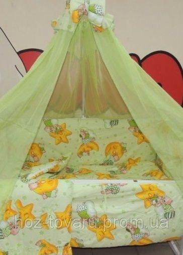 Детское постельное белье в кроватку салатовое Мишки горох Bonna 9 в 1