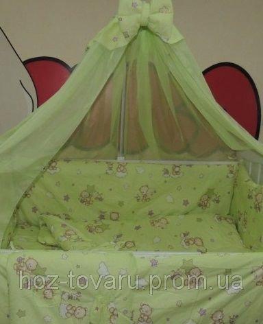 Детское постельное белье в кроватку салатовое Мишка пчелка на облаке Bonna 9 в 1