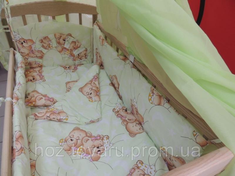 Детское постельное белье в кроватку салатовое Мишки спят Bonna 9 в 1