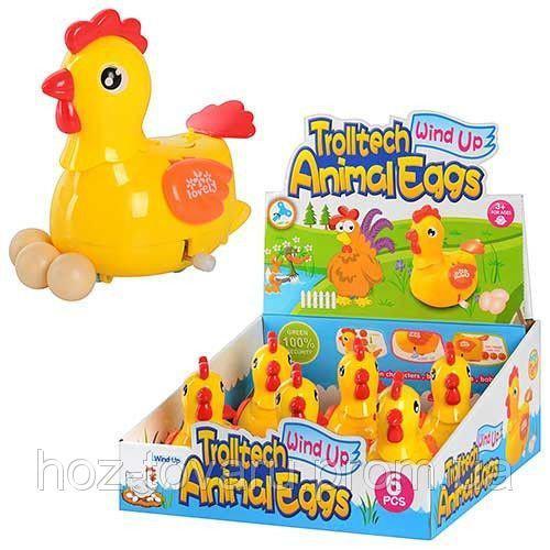 Заводная игрушка Курица несет яйца 12 см 6 штук Lovely Toys 289-1