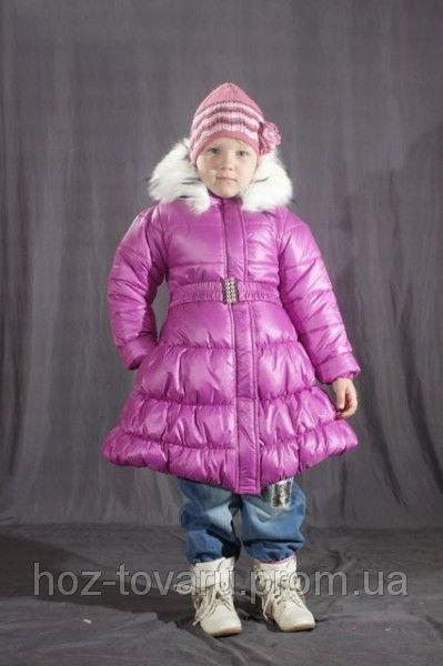 Зимнее пальто для девочки Сиреневое