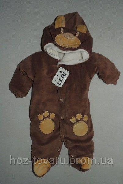 "Зимний комбинезон TM Lari ( мишки, лапки, на махре) ""Панда"" коричневый"