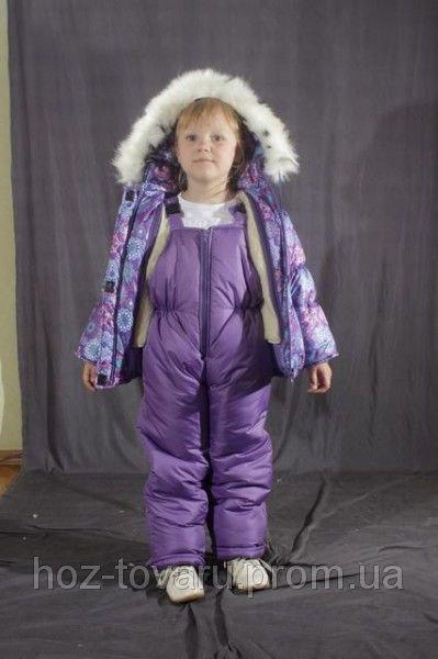 Зимний комбинезон для девочки цветной  Сиреневый снежинки