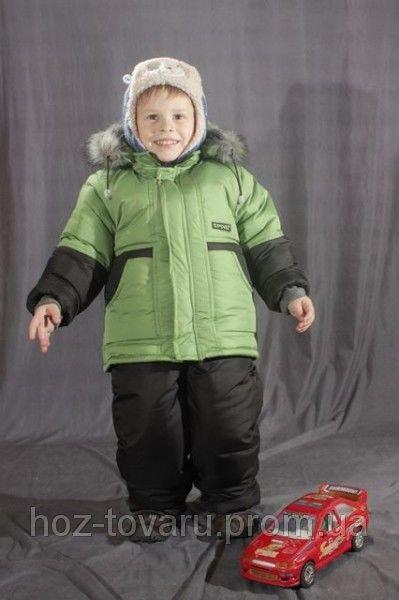 Зимний комплект однотонный на мальчика (Куртка+полукомбинезон) Зеленый