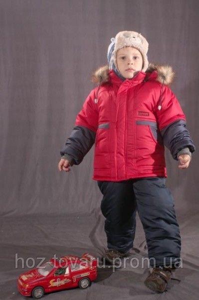 Зимний комплект однотонный на мальчика (Куртка+полукомбинезон) Красный