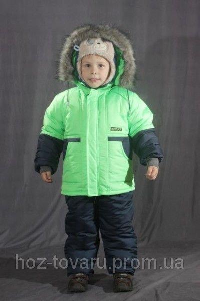 Зимний комплект однотонный на мальчика (Куртка+полукомбинезон) Салатовый
